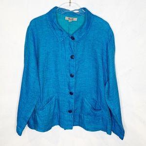 FLAX. Lagenlook Linen Turquoise Jacket